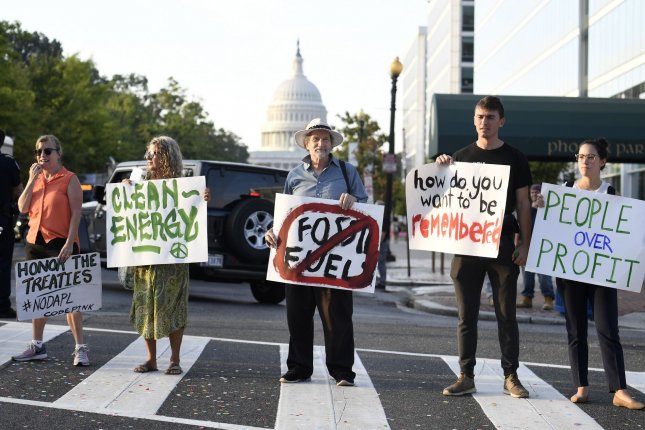 Climate activists block morning commuters in Washington, D.C., Monday, September 23, 2019. Photo by Mike Theiler/UPI