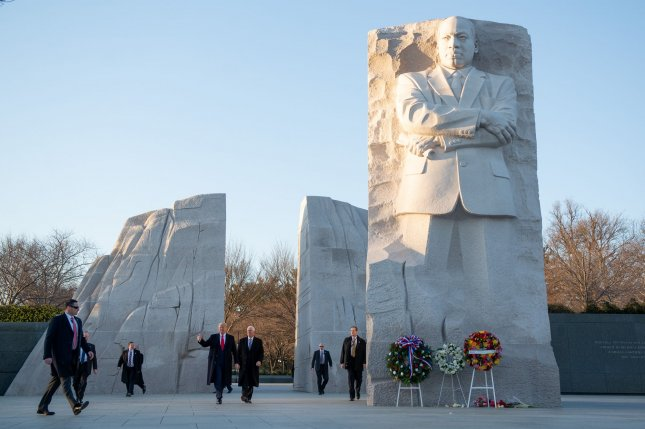 On Monday, Martin Luther King Jr. Day, President Donald Trump and Vice President Mike Pence visit the Martin Luther King Jr. Memorial in Washington, D.C. Photo by Erin Scott/UPI