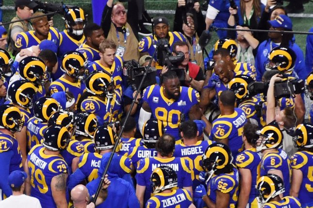 Los Angeles Rams defender Michael Brockers (90) was a team captain during Super Bowl LIII Feb. 3, 2019 at Mercedes-Benz Stadium in Atlanta. File Photo by Jon SooHoo/UPI