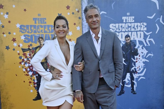 Taika Waititi (R) and Rita Ora attend the Los Angeles premiere of The Suicide Squad on Monday. Photo by Jim Ruymen/UPI