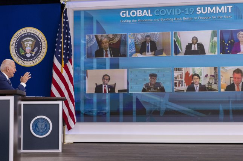 U.S. President Joe Biden addresses world leaders at the global virtual COVID Summit at the White House on Wednesday. Photo by Tasos Katopodis/UPI