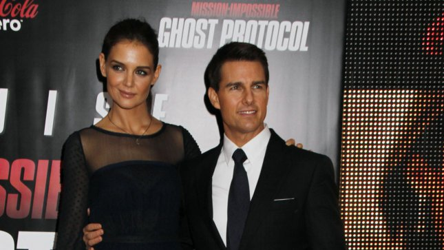 Tom Cruise and Katie Holmes arrive for the Mission:Impossible Ghost Protocol premiere at the Ziegfeld Theatre in New York on December 19, 2011. UPI /Laura Cavanaugh