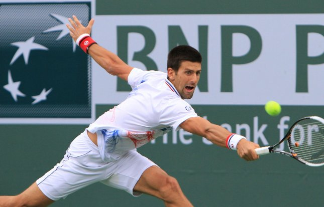Novak Djokovic, shown in a match two weeks go, will go against Andy Murray in Sunday's finals of the Masters-level tournament in Miami. UPI/David Silpa
