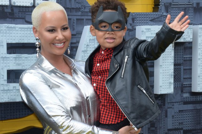 Amber Rose and her son Sebastian Taylor attend the premiere of the animated fantasy The LEGO Batman Movie in Los Angeles on February 4. Rose and Val Chmerkovskiy have reportedly ended their five-month romance. Photo by Jim Ruymen/UPI