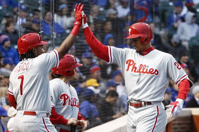 Philadelphia Phillies Aaron Altherr (R) celebrates with Maikel Franco (L) after hitting a solo home run off Chicago Cubs starting pitcher Jon Lester during the first inning at Wrigley Field on May 2, 2017 in Chicago. File photo by Kamil Krzaczynski/UPI