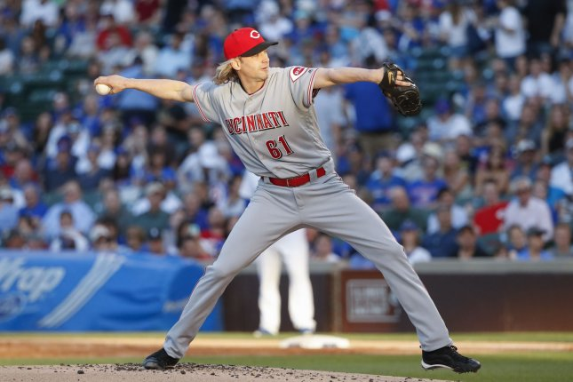Cincinnati Reds starting pitcher Bronson Arroyo pitches against the Chicago Cubs during the first inning at Wrigley Field on May 16, 2017 in Chicago. File photo by Kamil Krzaczynski/UPI