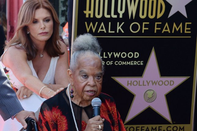 Della Reese (R), pictured here with her Touched by an Angel costar Roma Downey, has died at the age of 86. File Photo by Jim Ruymen/UPI