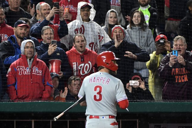 Fans react as Philadelphia Phillies right fielder Bryce Harper walks to the dugout after striking out in the first inning against the Washington Nationals on Tuesday at Nationals Park in Washington, D.C. This is Harper's first time returning to Nationals Park since leaving for the Phillies. Photo by Kevin Dietsch/UPI