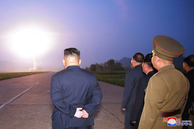 This image, released Aug. 7 by the North Korean Official News Service (KCNA), shows North Korean leader Kim Jong Un overseeing the country's fourth series of missile launches in less than two weeks a warning to South Korea and the United States over an ongoing joint military exercise. File Photo by KCNA/UPI