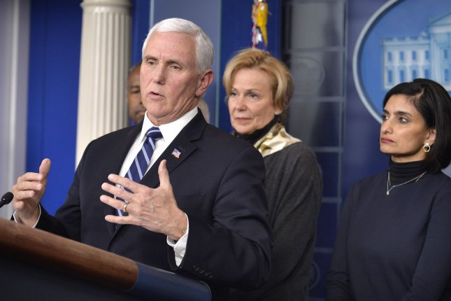 Vice President Mike Pence makes remarks during a briefing as White House Coronavirus Response Coordinator Ambassador Debbie Birx (C) and Centers for Medicare and Medicaid Services Administrator Seema Verma listen at the White House on Wednesday. Photo by Mike Theiler/UPI