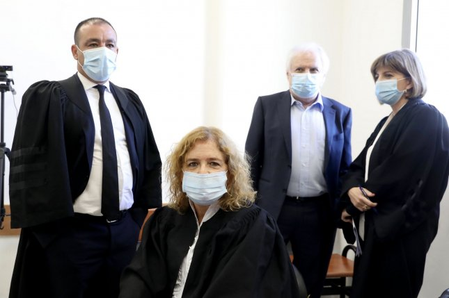 Prosecutors in the case against Benjamin Netanyahu, including Liat Ben Ari (second from left) appear at District Court in Jerusalem, Israel, on Sunday. Photo by Marc Israel/pool/PI