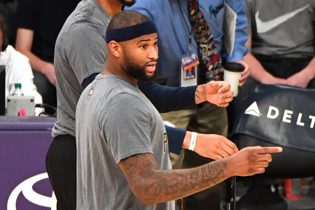 DeMarcus Cousins (pictured) said former teammate James Harden's approach to training camp and antics off the court were disrespectful to Houston Rockets players before the All-Star guard was traded Wednesday to the Brooklyn Nets. File Photo by Jon SooHoo/UPI