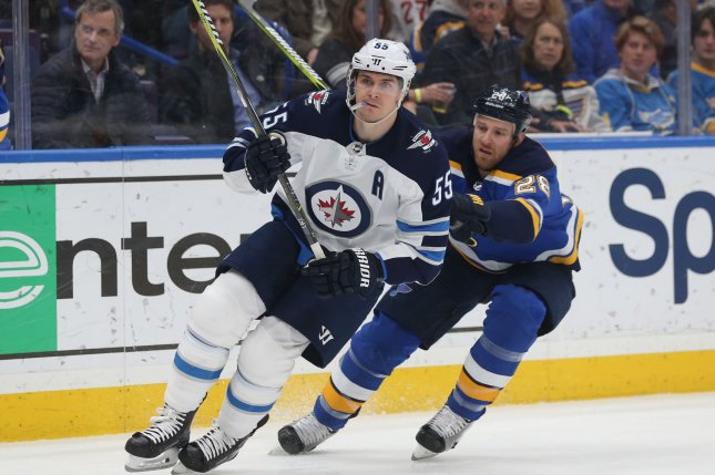 Winnipeg Jets forward Mark Scheifele (55), shown Feb. 23, 2018, delivered a hard hit to Montreal Canadiens forward Jake Evans during Wednesday night's playoff game. The hit caused Evans to leave the ice on a stretcher. File Photo by Bill Greenblatt/UPI