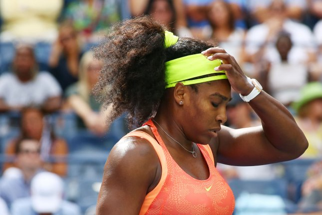 Serena Williams of the USA reacts after losing a game to Roberta Vinci of Italy in the third set of their semi-final match at the U.S. Open Tennis Championships at the USTA Billie Jean King National Tennis Center in New York City on Sept.11, 2015. Williams, who lost 2-6, 6-4, 6-4, was looking to be the first player to complete the calendar year grand slam since Steffi Graf did so in 1988. Photo by Monika Graff/UPI