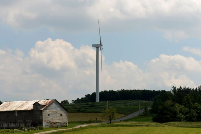 Land-based wind power now entrenched in national electricity grid, a report from the U.S. Department of Energy finds. File photo by Pat Benic/UPI