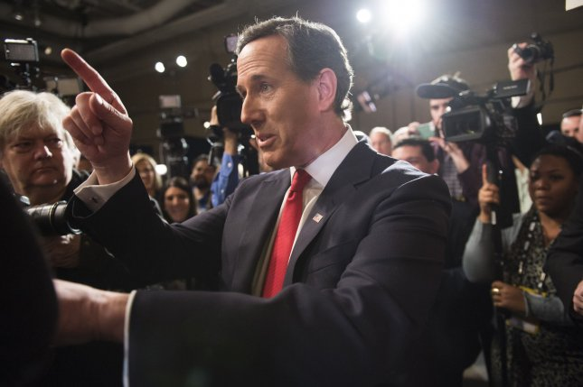 Republican presidential candidate Rick Santorum speaks to the media following the Republican presidential debate in North Charleston, South Carolina on January 14, 2016. Photo by Kevin Dietsch/UPI