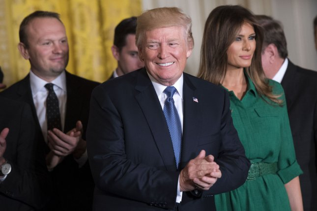 President Donald Trump and First Lady Melania Trump arrive to welcome the 2017 Stanley Cup Champion Pittsburgh Penguins to the White House, on October 10, 2017 in Washington, D.C. File photo by Kevin Dietsch/UPI