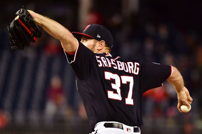 Washington Nationals starting pitcher Stephen Strasburg (37) pitches against the Arizona Diamondbacks on April 27 at Nationals Park in Washington, D.C. Photo by Kevin Dietsch/UPI