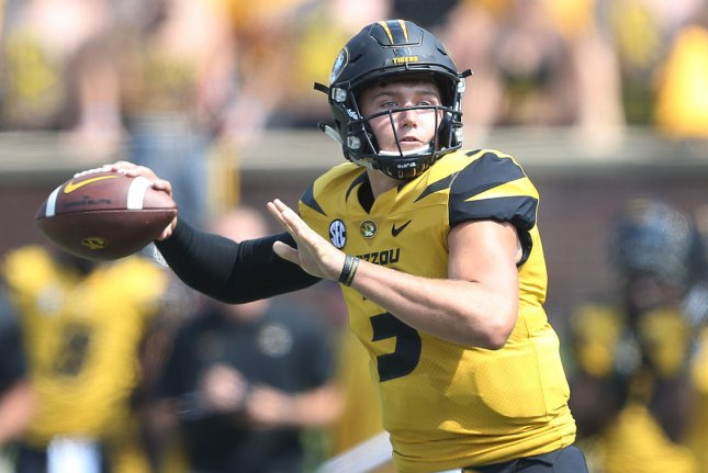 Missouri's Drew Lock was the No. 42 overall pick in the 2019 NFL Draft, after the Denver Broncos acquired the pick from the Cincinnati Bengals via trade Friday in Nashville. Photo by BIll Greenblatt/UPI