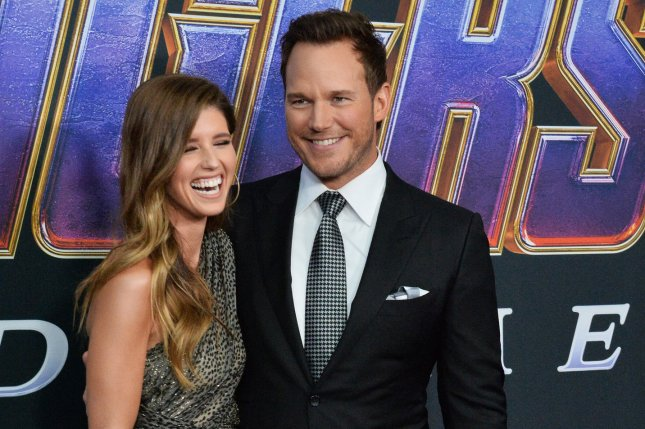 Chris Pratt (R) with Katherine Schwarzenegger. Pratt will be reprising his Jurassic World role along with Bryce Dallas Howard in Universal Studios Hollywood's newest ride. File Photo by Jim Ruymen/UPI