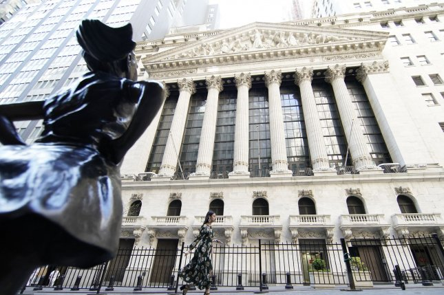 The Fearless Girl statue is seen outside the New York Stock Exchange on Monday. Photo by John Angelillo/UPI