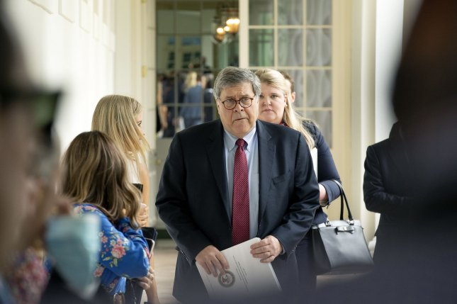 Attorney General William Barr is shown at an executive order signing at the White House on June 16. The Supreme Court Monday cleared the way for Barr to start federal executions again. Pool photo by Stefani Reynolds/UPI