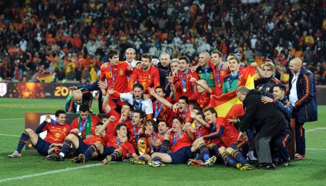Spain celebrate following the FIFA World Cup Final match at Soccer City Stadium in Johannesburg, South Africa on July 11, 2010. Spain defeated Holland 1-0. UPI/Chris Brunskill