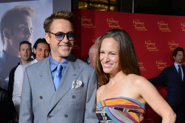 Robert Downey, Jr. (L) and wife Susan Downey at the Los Angeles premiere of 'Avengers: Age of Ultron' on April 13. The couple celebrated their 10th wedding anniversary Aug. 27. File photo by Jim Ruymen/UPI