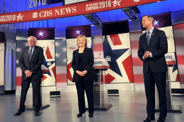 The three remaining Democratic presidential candidates met in Iowa on Saturday for the second Democratic debate. Photo by Steve Pope/UPI