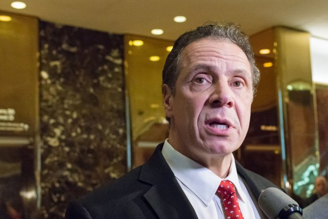 New York State Governor Andrew Cuomo says his state is the clear leader when it comes to advancing clean-energy innovations. Pool photo by Albin Lohr-Jones/Pool