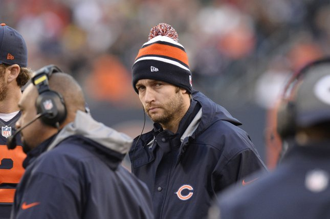 Chicago Bears quarterback Jay Cutler (6) stands on the sidelines during the second quarter at Soldier Field in Chicago on November 17, 2013. Cutler is out with an ankle injury. UPI/Brian Kersey