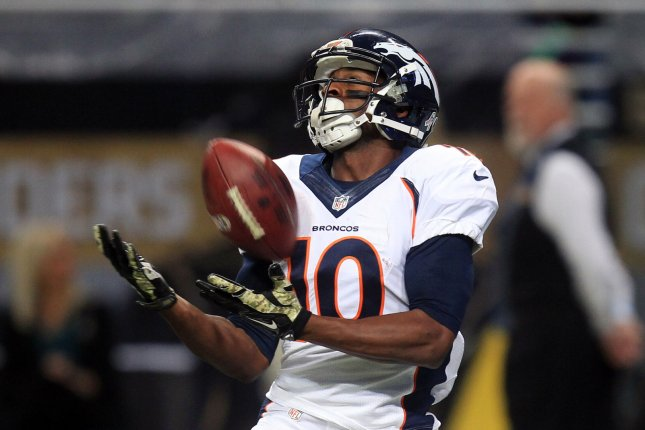 Denver Broncos wide receiver Emmanuel Sanders catches the football for a 42-yard touchdown in the second quarter against the then-St. Louis Rams on November 16, 2014 at the Edward Jones Dome in St. Louis. File photo by Bill Greenblatt/UPI