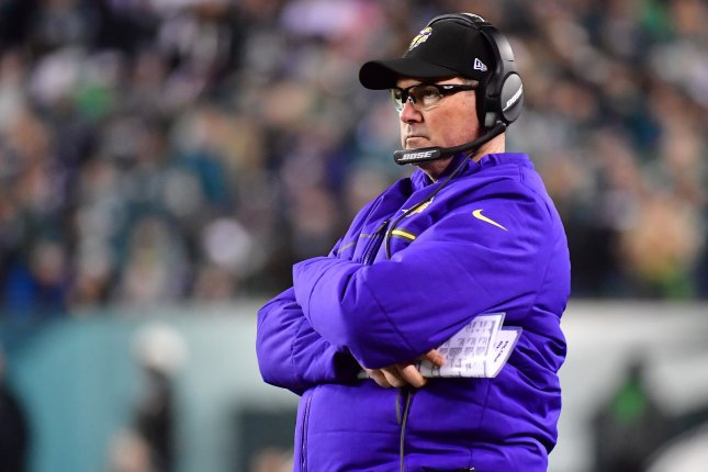 Minnesota Vikings coach Mike Zimmer watches from the sidelines against the Philadelphia Eagles during the NFC championship game last season. Photo by Kevin Dietsch/UPI
