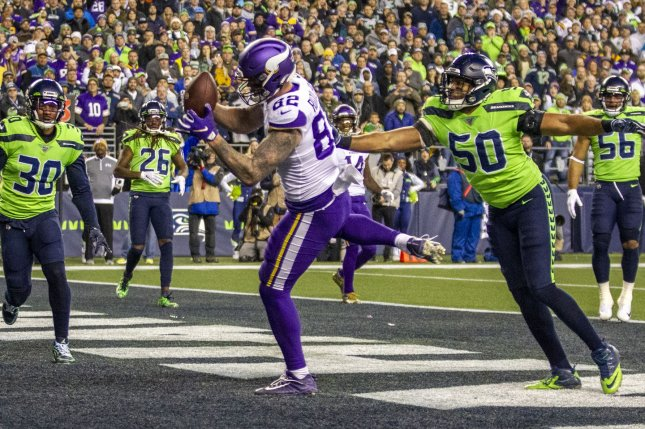 Minnesota Vikings tight end Kyle Rudolph (82) has scored in each of his last four games and has six touchdowns in his last six starts. Photo by Jim Bryant/UPI