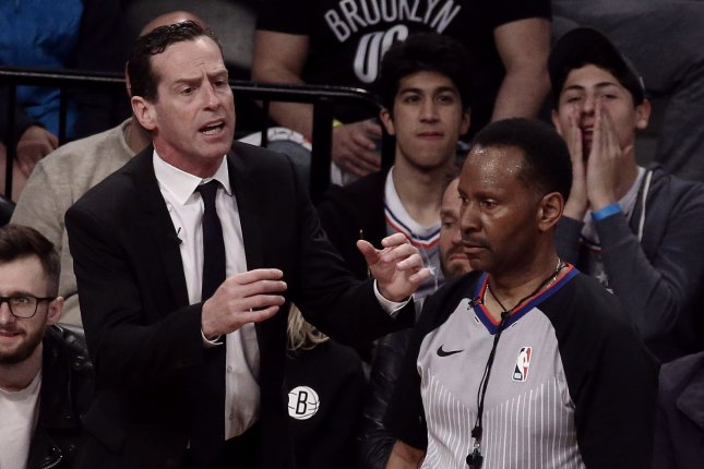 Brooklyn Nets head coach Kenny Atkinson (L) posted a 118-190 record with the Nets. File Photo by Peter Foley/UPI
