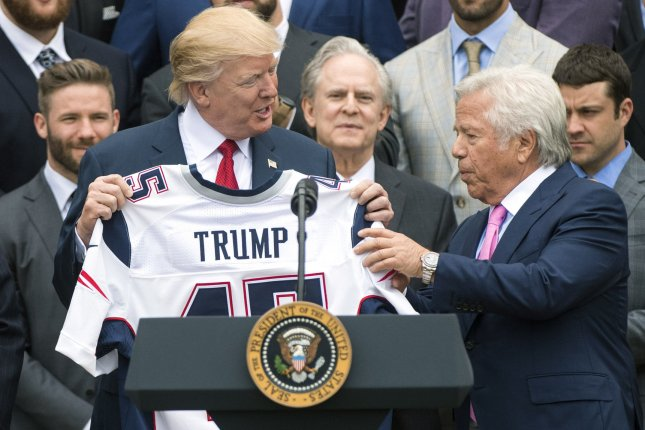New England Patriots owner Robert Kraft (R) is among three professional sports team owners advising President Donald Trump (L) on how to reopen the United States economy. File Photo by Kevin Dietsch/UPI