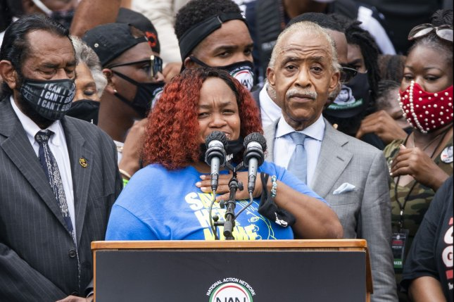 Tamika Palmer, Breonna Taylor's mother, speaks at the Lincoln Memorial during the 'Commitment March: Get Your Knee Off Our Necks' civil rights rally in Washington, D.C., on August 28. File Photo by Jim Lo Scalzo/UPI