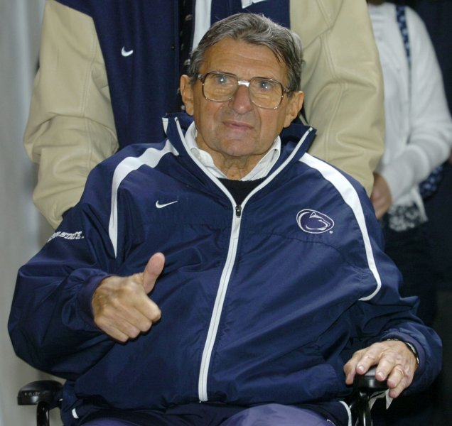 Former Penn State University head football coach Joe Paterno died Sunday of complications from treatment of lung cancer. He was 85. 2006 file photo. (UPI Photo/PENN STATE POOL)