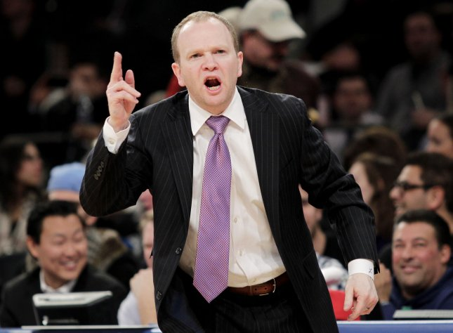 Lawrence Frank, shown in a February 2013 file picture, was fired Thursday as coach of the Detroit Pistons. UPI/John Angelillo
