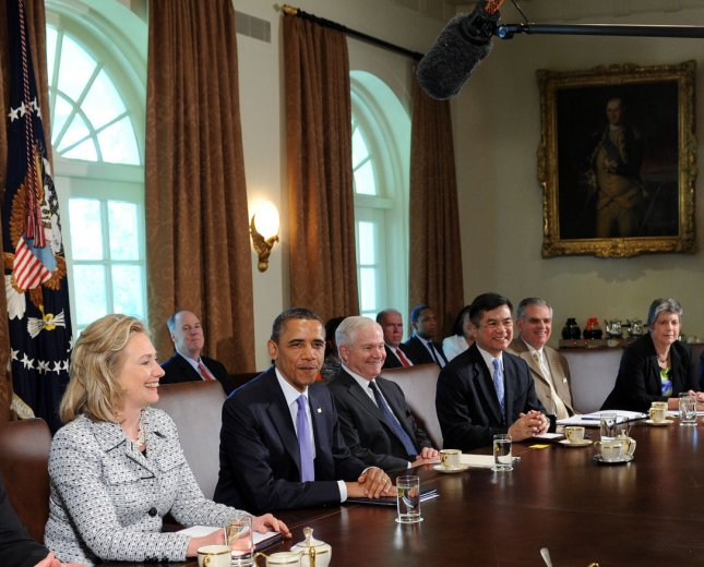 U.S. President Barack Obama holds a Cabinet meeting with, from left, Secretary of State Hillary Clinton, Secretary of Defense Robert Gates, Secretary of Commerce Gary Locke, Secretary of Transportation Ray LaHood, and Secretary of Homeland Security Janet Napolitano, in the Cabinet Room of the White House, on Tuesday, May 3, 2011, in Washington, DC. UPI/Leslie E. Kossoff/Pool