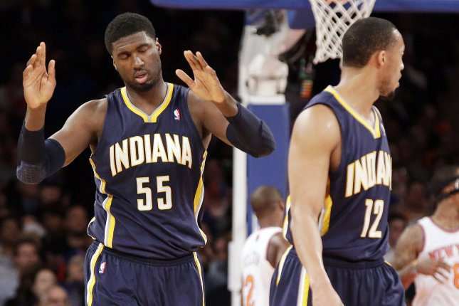 Indiana Pacers Roy Hibbert reacts after a change of possession in the first half against the New York Knicks at Madison Square Garden in New York City on March 19, 2014. UPI/John Angelillo