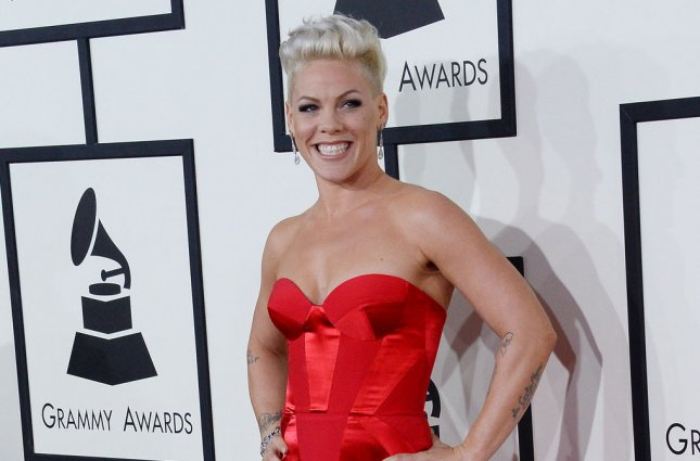 Pink arrives for the 56th annual Grammy Awards on January 26. Pink has been selected by MTV to receive the Video Vanguard Award. File Photo by Jim Ruymen/UPI