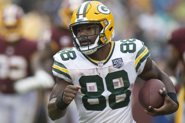 Running back Ty Montgomery spent his 2018 campaign with the Green Bay Packers and Baltimore Ravens after a midseason trade. File Photo by Alex Edelman/UPI