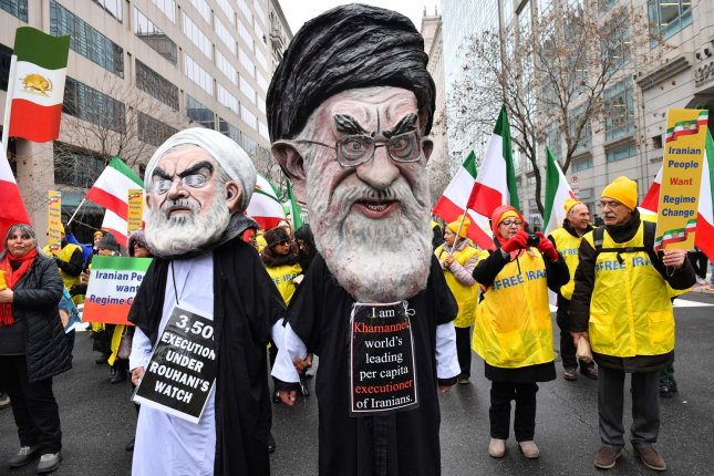 Demonstrations participate in a rally held by the Organization of Iranian-American Communities in support of a regime change in Iran, in Washington, D.C., on March 8. File Photo by Kevin Dietsch/UPI