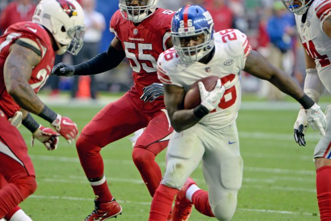 Orleans Darkwa had nine touchdowns in four seasons with the New York Giants. File Photo by Art Foxall/UPI