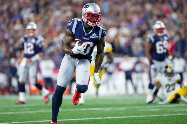 Former New England Patriots wide receiver Josh Gordon (10) was suspended indefinitely for the sixth time since the 2013 season. File Photo by Matthew Healey/UPI