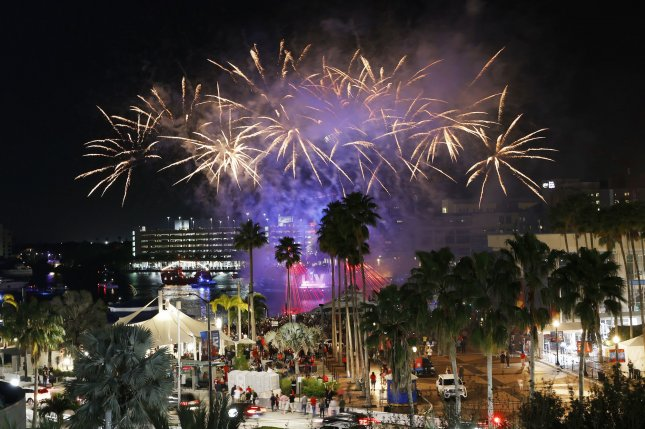 Fireworks explode Saturday night outside Raymond James Stadium in Tampa, Fla., home of of Super Bowl LV. Photo by John Angelillo/UPI