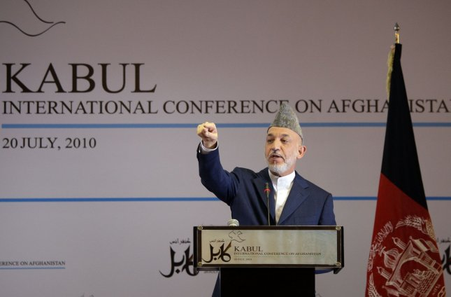 Afghan President Hamid Karzai takes a question during a news conference in Kabul July 20, 2010. UPI/Musadeq Sadeq/Pool