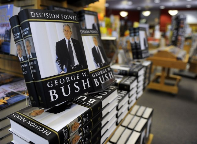 Former President George W. Bush's book Decision Points is on display at a Borders bookstore in Washington on November 9, 2010. UPI/Roger L. Wollenberg