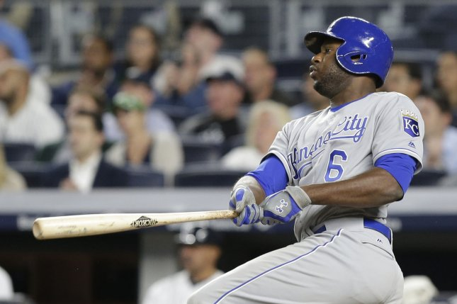 Kansas City Royals' Lorenzo Cain hits the ball. File photo by John Angelillo/UPI